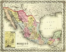 Old Mexico Map - Colton 1856 - 28.75 x 23