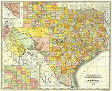 Old Railroad Map - Texas Railroads and Counties - Rand McNally 1882 - 28.13 x 23