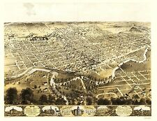 FORT WAYNE INDIANA (IN) PANORAMIC MAP BY CHICAGO LITH. 1868