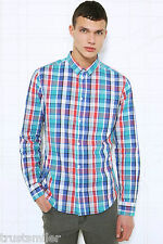 Brand New Cheap Monday Turquoise Check Long Shirt UK S/M/L/ XL Was £45 Sale