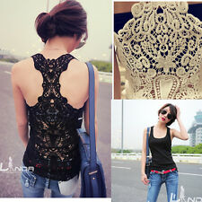 2013 New Style Womens Sleeveless Lace Back Hollow Crochet Vest Cami Tank Top