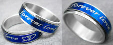 R080S unisex blue spin forever love stainless steel cool ring you pick size New