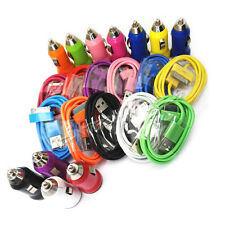 Lot 11 Color USB Sync Data Cable Cord & Universa USB Car Charger for iPhone 4 4S