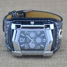 New Fashion Racing Car Face Big Leather Band Sports Mens Boys Quartz Wrist Watch