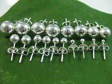 REAL 925 sterling silver 2mm to 16mm plain ROUND BALL studs EARRING - UNISEX