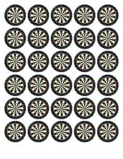 30 DARTBOARD DARTS PERSONALISED EDIBLE WAFER/FONDANT PAPER CUP CAKE TOPPERS
