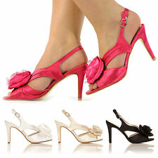 NEW SATIN HIGH HEELS EVENING PROM WEDDING PARTY SANDALS SIZE 3-8 LADIES SHOES