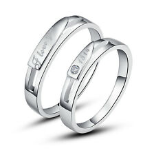 His & Hers Rings Silver Love You Couple Promise Rings Wedding Rings Nickel Free