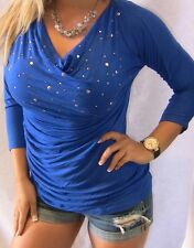 SEXY NEON BLUE RHiNESTONE BLiNG COWL DRAPE NECK TUNiC LOOSE WOMEN TOP BLOUSE