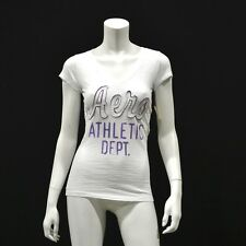 NWT Aeropostale Women's T Shirt - Embroidered Athletic White