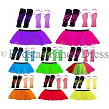 NEON TUTU SKIRTS UV LEG WARMERS GLOVES BEADS 1980S FANCY DRESS HEN PARTY STAG