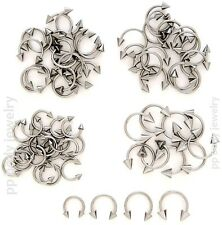 "2pcs. 18g,16g~1/4"", 5/16"",3/8"",7/16"",1/2"" Spike Horseshoe Circular Earring, Lip"