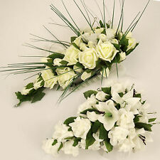 Artificial Bridal Shower Bouquet Teardrop 3 STYLES Roses Lilies Foam Flowers