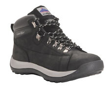 MENS BLACK LEATHER SAFETY WORK HIKING STEELITE BOOTS PORTWEST STEEL TOE FAB202