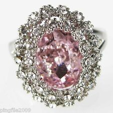 Size 6,7,8,9 Jewelry Woman's Pink Sapphire White Topaz 10KT Gold Filled Ring