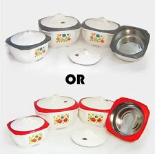 4PC Hot Cold Food Storage Insulated Casserole Hot Pot Casserole Dish Red / Grey