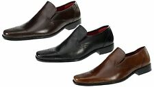 Red Tape Ribble Real Leather Brogue Slip On Shoes Square Toe Black Tan Brown