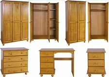 Hampshire Solid Antique Pine Bedroom Furniture Wardrobe Drawers Bedside Desk Set