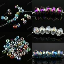 Colorful Faceted Crystal Glass Silver Large Hole Charm Beads Findings Wholesale