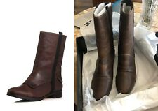 Elizabeth and James Petey riding Boot Brown Leather pull on almond toe stacked