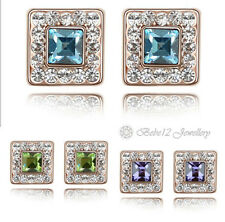 Crystal Square Stud Earring/Purple/Blue/RGE099/291/305