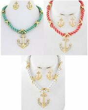 NEW CRYSTAL ANCHOR PENDANT NAUTICAL ROPE CHAIN GOLDTONE NECKLACE & EARRINGS SET