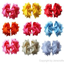 """9x 4.5"""" Solid Stacked Girl Baby Spike Ribbon Hair Bow Alligator Clip Mix 9 color"""