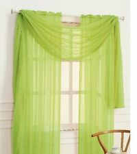 "SHEER / SCARF Window Treatments Curtains Drape Valances 63"" 84"" 95"" LIME GREEN"