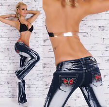 Crazy Age Bootcut Jeans RED BUTTERFLY - 24/26/28/30/32 (XS/S/M/L/XL)