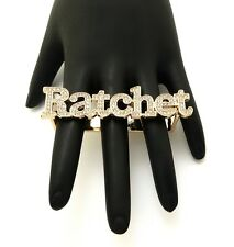 Hot Urban Ghetto Rhinestone Iced Out Ratchet 2 or 3 Finger Ring HYRI1