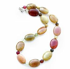 "Classic design three colour jade oval gemstone bead necklace 18"" - balouli"