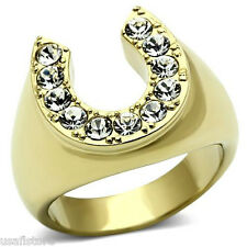 Mens Horse Shoe Lucky Crystal Stones Gold Plated Stainless Steel Ring