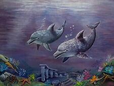 "Needlepoint canvas ""Dolphins"""