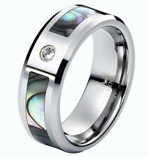 8mm Mens Wedding Ring Band Tungsten Carbide With CZ Gem & Abalone Shell