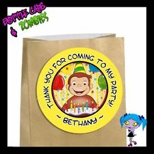 Curious George Birthday Party Favor Goody Bag STICKERS - Personalized Labels