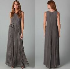Halston Heritage Pleated Long Dress Ash Grey chiffon polyester maxi belted crew