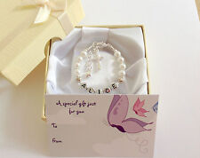 new baby/ child/ girl personalised christening name bracelet gift box or bag