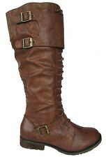 Wild Diva Women Horse Riding Flat Boots Brown Buckles Lace Up Knee High SONYA-01