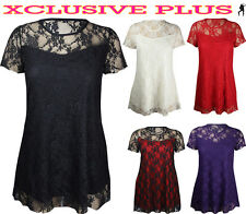 NEW LADIES PLUS SIZE SHORT SLEEVE TOP WOMENS STRETCH FIT LACE FLORAL DRESS