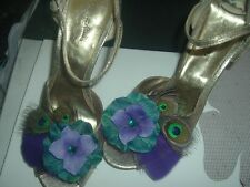 Teal and Purple Flower with Peacock Feathers Shoe Clips