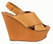 $895 CHLOE SHOES PLATFORM CUFF WRAPPED WEDGE SANDALS CRISSCROSS VAMP TAN 41