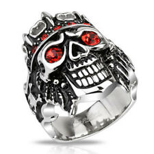 Stainless Steel Pirate Skull King with Red CZs Wide Cast Ring FSH