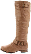 Wild Diva women casual motorcycle riding flat boots Beige Camel size 6 Tosca01A