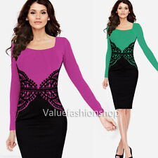 Women Crochet Lace Tunic Wear to Work OL Business Party Sheath Bodycon Dress 159