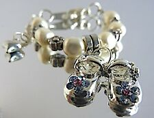 Personalised New Baby Christening Bracelet/Baby Shoes Charm/Swarovski Pearls