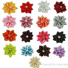"""200pc 1 1/8"""" Satin Ribbon Flower w/ Crystal Appliques Wedding Craft Mix 17 Color"""