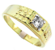 0.48ct Clear 5MM Cubic Zirconia Stone 18Kt Gold EP Mens Ring