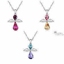 18K White Gold Plated Angel Pendant Necklace made with Swarovski Crystals