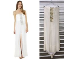 BCBG Max Azria Exene Gown White Long Strapless Jewel Embellished Chiffon Silk