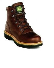 Mens John Deere Safety Toe Lace-Up  Leather Cowboy Boots